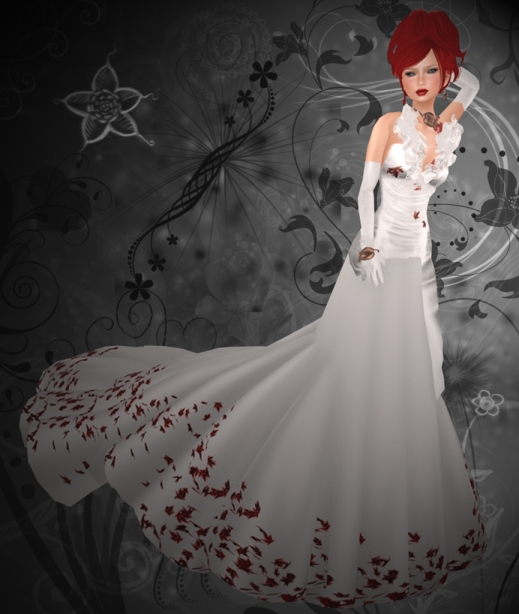 Elegant Marja White Dress Gray Background